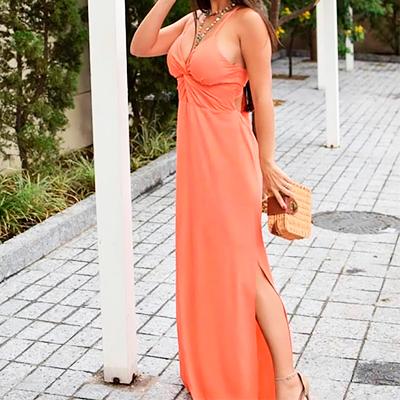 Vestido Longo Fenda | Q Bonita Moda Feminina