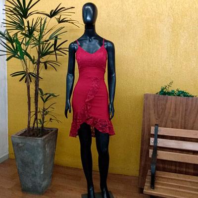 Vestido Babado Vermelho | Telma Modas
