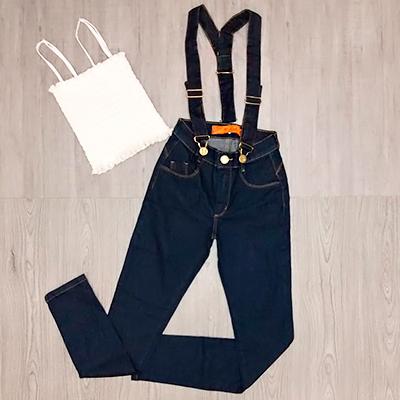 Conjunto Salopete e Cropped | Look Jeans