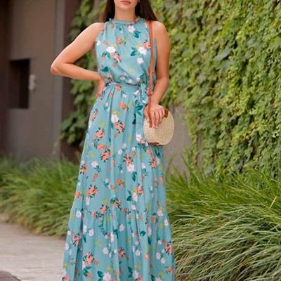 Vestido Estampado Longo | Ateliê da Larisse