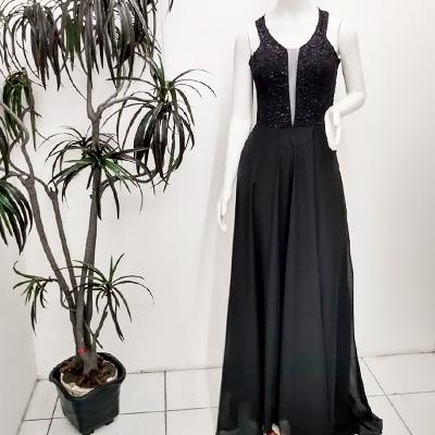 Vestido Longo Festa | Renda Rosa