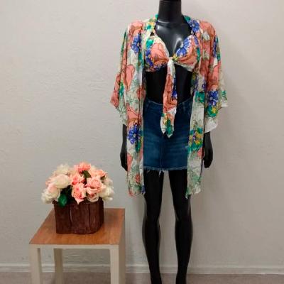 Conjunto Cropped e Kimono | Jaqueline