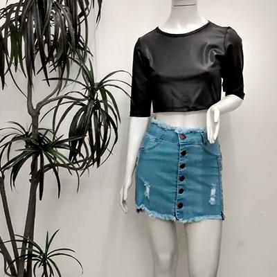 Saia Jeans Desfiada | Lindona Modas