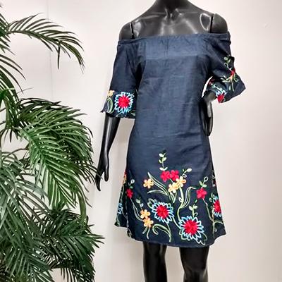 Vestido Jeans Bordado | Rose Amorim Modas