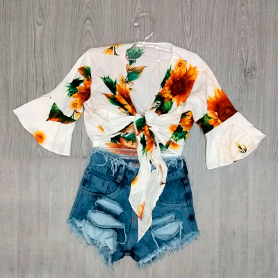 Cropped Estampado Flower | Exclusiva Paiva