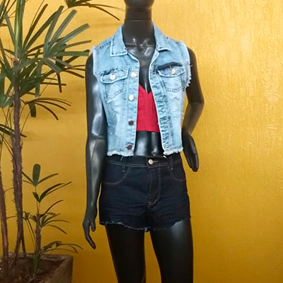 Colete Jeans Desfiado | Fafá Modas
