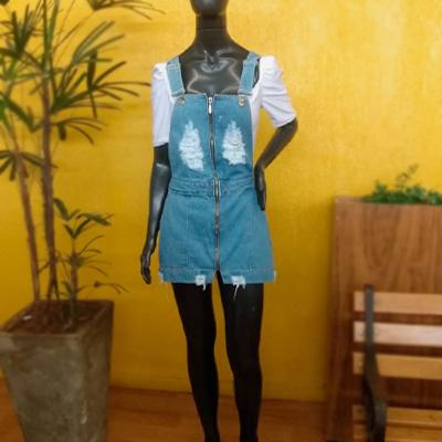 Jardineira Saia Jeans | Marina Maynarte Modas