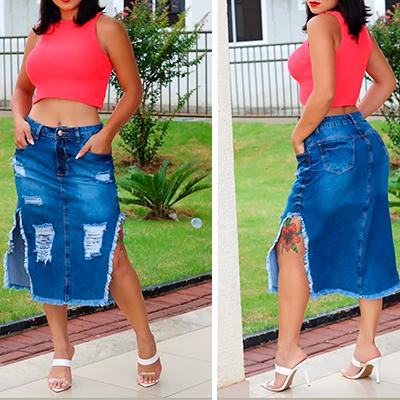 Saia Jeans Fenda | Marines Modas