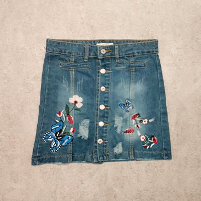 Saia Jeans Bordada | Espaço Fashion