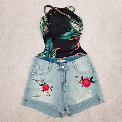 Short Jeans Bordado | Espaço Moça Bonita