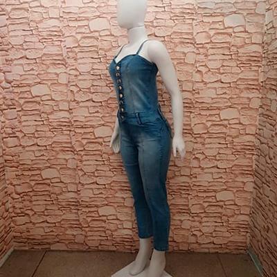 Macacão Jeans Longo | Edi Modas