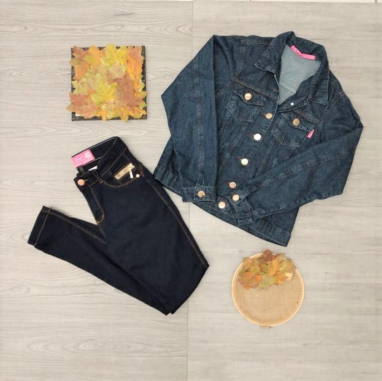 Conjunto jaqueta e calça jeans | Fafá Modas