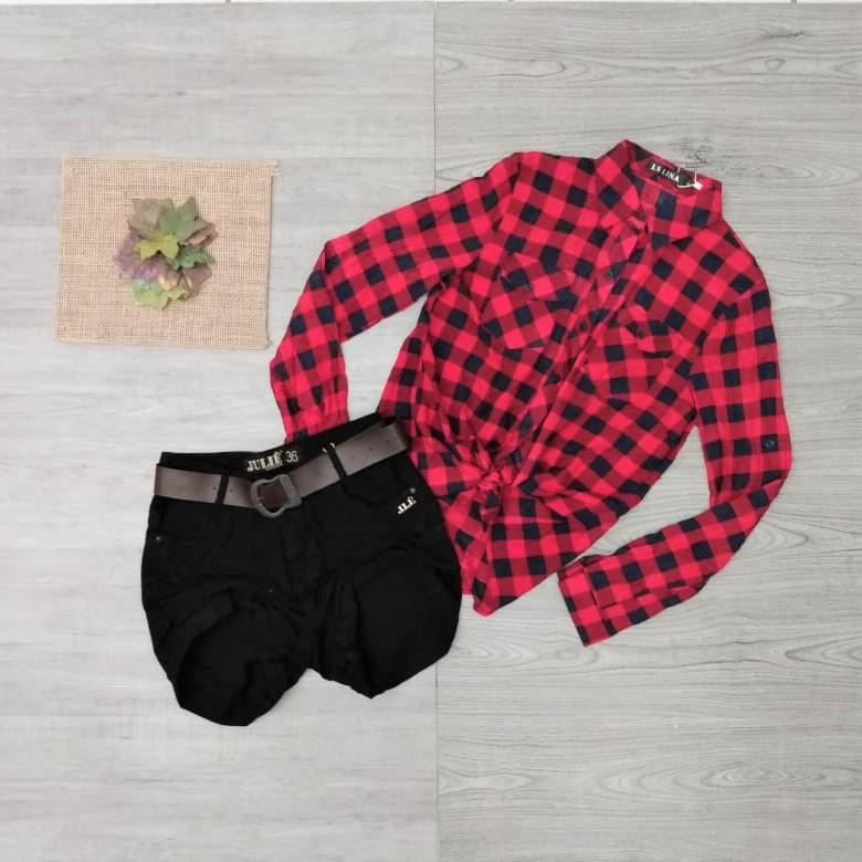 Conjunto camisa xadrez e short | Vitrine Fashion