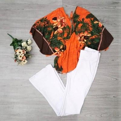Conjunto calça flare jacar e blusa floral | Gilbert Modas