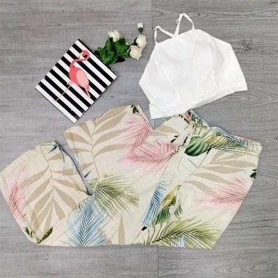 Cropped branco e Calça Pantalona Floral | Imperatriz da Moda