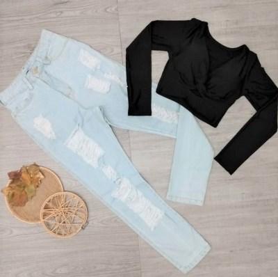 Conjunto Cropped preto e Calça Mon | Vitrine do Jeans