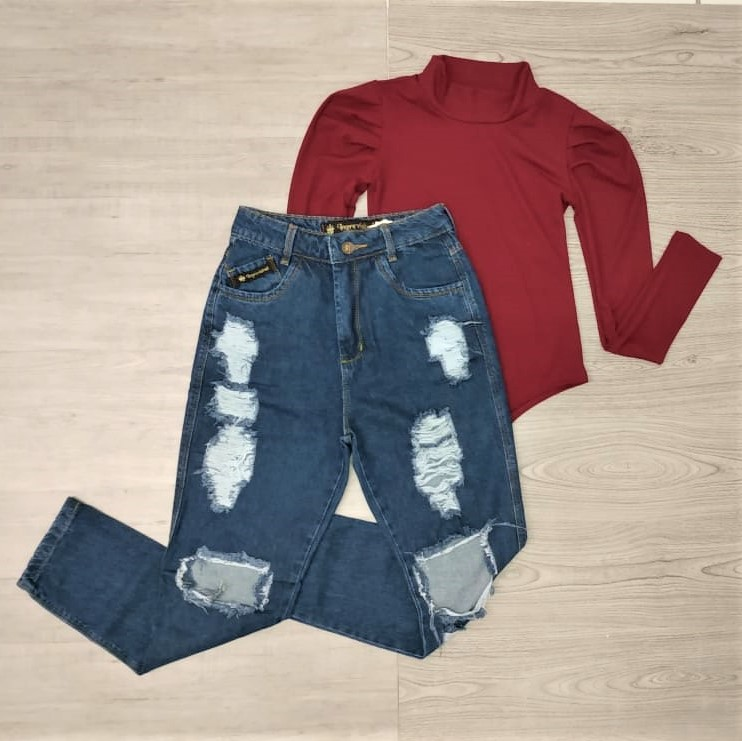 Conjunto calça mom e body | Amorim Modas