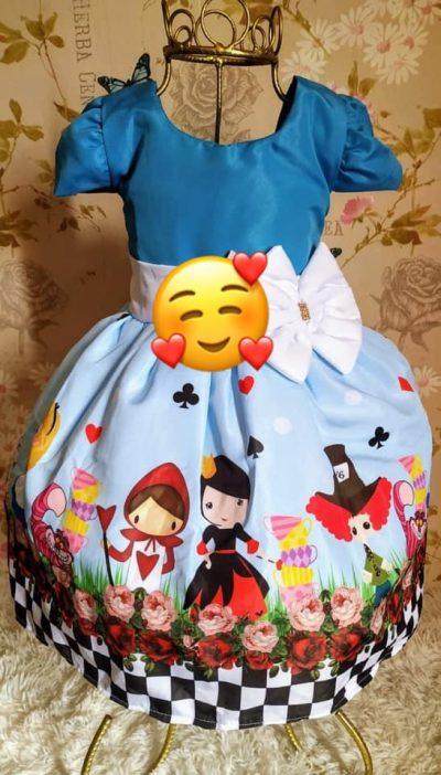 Vestido infantil Alice no País das Maravilhas