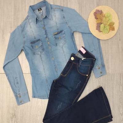 Calça flare e camisa jeans | Victoria Fashion