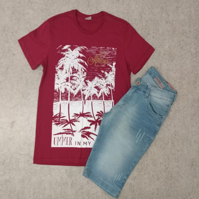 Blusa masculina e bermuda jeans | Costureira Ana