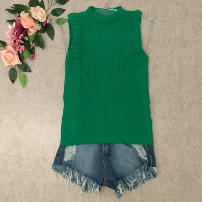 Short jeans e blusa tricot | Qbonita